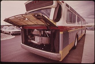 Steam bus - Lear steam bus on display in Michigan in 1972