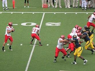 2009 Eastern Washington Eagles football team - Matt Nichols throwing a pass against Cal.