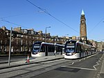 Trams undergoing testing at West End - Princes Street tram stop in Shandwick Place, Edinburgh.