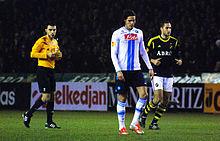 Edinson Cavani, Napoli's record sale, in a Europa League match for Napoli against AIK in 2012