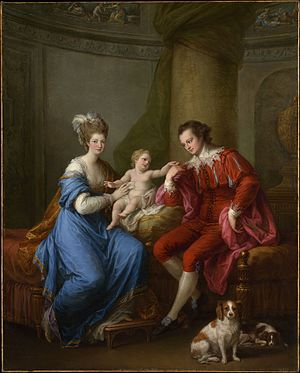 Edward Smith-Stanley, 12th Earl of Derby - Edward Smith Stanley, Twelfth Earl of Derby, with His First Wife (Lady Elizabeth Hamilton) and Their Son, portrait painting by Angelica Kauffmann, ca 1776