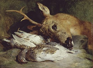 Head of a Roebuck and Two Ptarmigan