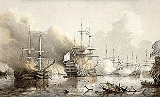 Charles de Courbon de Blénac - First Battle of Tobago. The Glorieux fires at burning Dutch ships.