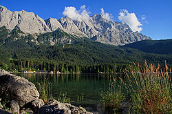 View of Eibsee and the Zugspitze