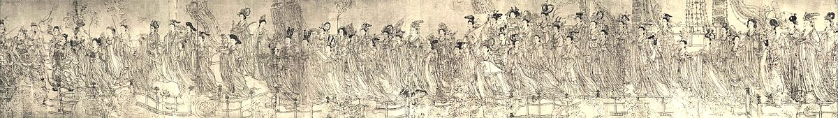 Eighty Seven Celestials, draft painting of a fresco by Wu Daozi (c. 685–758)