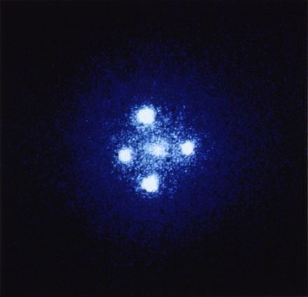 Einstein cross: four images of the same astronomical object, produced by a gravitational lens Einstein cross.jpg
