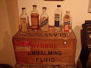 Cadaver - The embalming process includes the use of specialist chemicals.