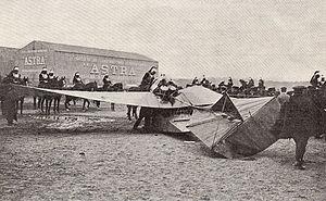 1911 Paris to Madrid air race - The crash of the Louis Émile Train monoplane