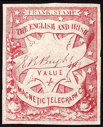 Langmead Collection - Image: English & Irish Magnetic Telegraph Co stamp