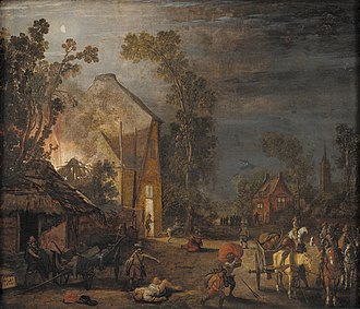 Esaias van de Velde - A Village Looted at Night, oil on panel (1620)