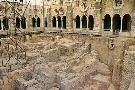 Phoenician archaeological dig in a cloister of the Lisbon Cathedral.