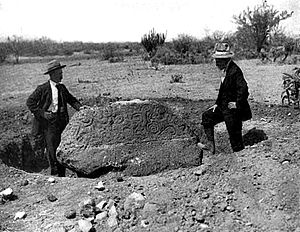 Yaqui River - The Esperanza Stone. Found by Major Frederick Russell Burnham in the Yaqui Valley in 1908. Burnham left; Holder, right