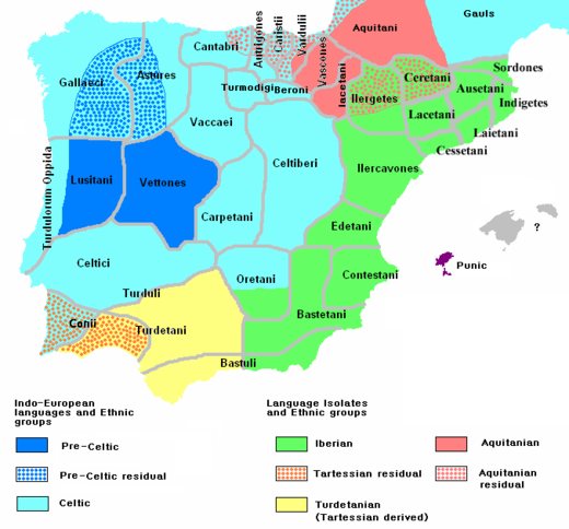 Ethnology of the Iberian Peninsula c. 200 BC, based on the map by Portuguese archeologist Luis Fraga Ethnographic Iberia 200 BCE.PNG