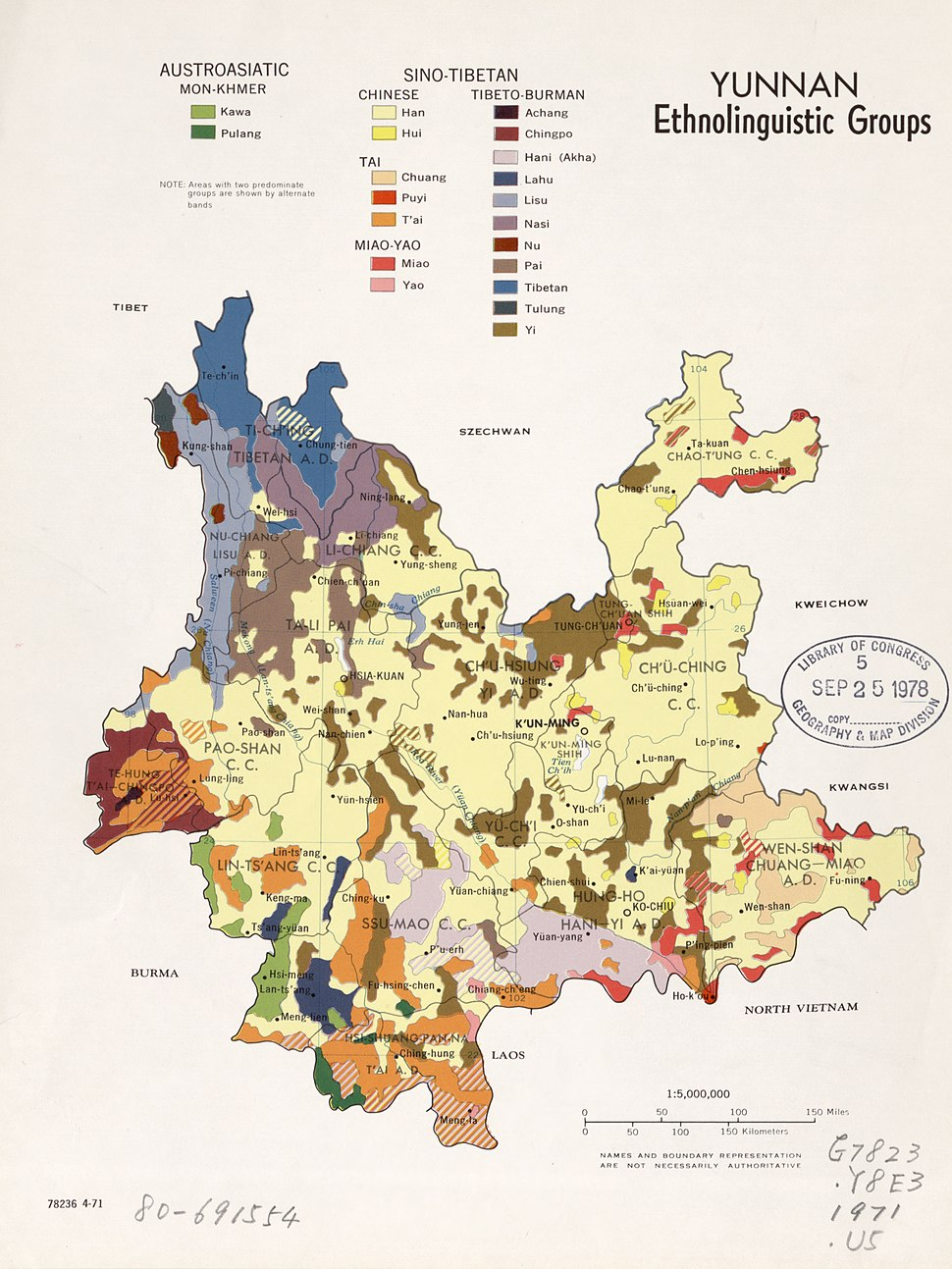 Ethnolinguistic groups in Yunnan Province (1971)
