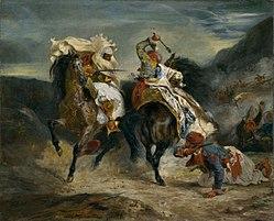 Eugène Delacroix: Combat de Giaour et Hassan