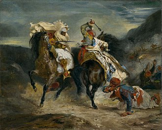 1813 in poetry - The Combat of the Giaour and Hassan  scene from Byron's The Giaour painted by Eugène Delacroix (1826)