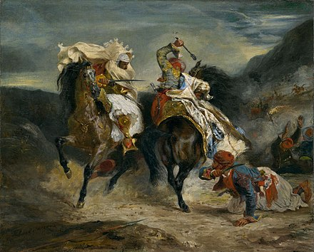 The Combat of the Giaour and Hassan by Eugene Delacroix (1826, oil on canvas, Art Institute of Chicago). Inspired by Lord Byron's poem The Giaour. Eugene Ferdinand Victor Delacroix 021.jpg