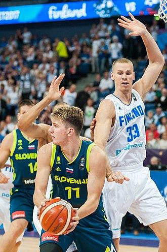 Luka Dončić - Dončić (front) during EuroBasket 2017