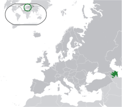 Location of  Азербайджан  (green) on the European continent  (dark grey)  —  [Legend]