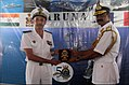 Exchange of crest between Rear Admiral Didier Piaton and Rear Admiral MA Hampiholi at Varuna 2018 (1).jpg