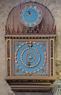 Exeter Cathedral astronomical clock clock in Exeter, Devon, UK