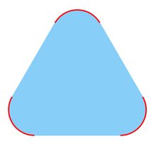 A picture of a smoothed triangle, like a triangular (Mexican) tortilla-chip or a triangular road-sign. Each of the three rounded corners is drawn with a red curve. The remaining interior points of the triangular shape are shaded with blue.