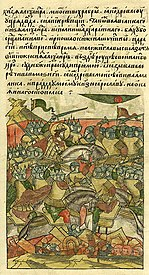 Battle of Lake Peipus, last phase: the order's army flee and the consequences are symbolically represented (Russian chronicle from the 16th century)