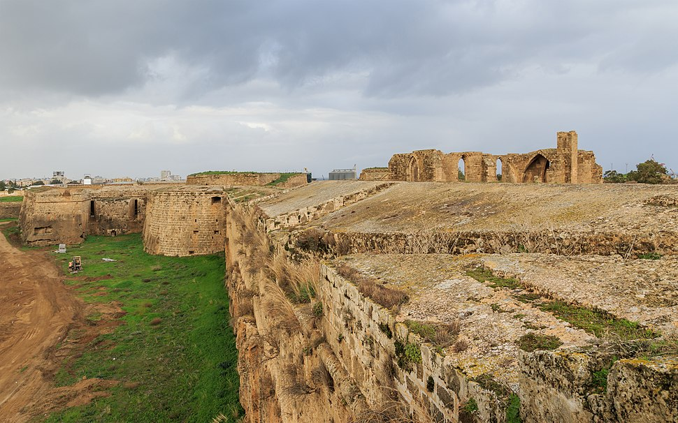Medieval churches visible beyond the Renaissance defensive walls of Famagusta, Cyprus
