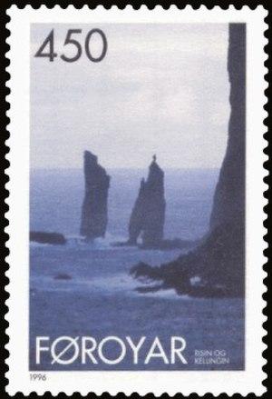 Risin og Kellingin - 1996 stamp issued by the Postverk Føroya.