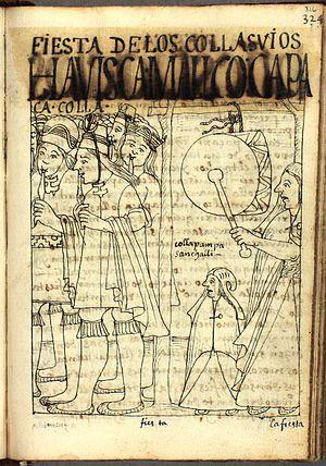 Diablada - Depiction of a Collasuyu party in the 17th century book Primer Nueva Corónica y Buen Gobierno of Felipe Guamán Poma de Ayala.