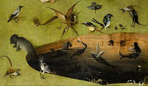 File-Bosch, Hieronymus - The Garden of Earthly Delights, left panel - Detail pond with fictional creatures (lower right).jpg