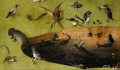 File-Bosch, Hieronymus - The Garden of Earthly Delights, left panel - Detail pond with fictional creatures (lower right)