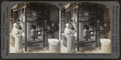 Filling and sewing bags of granulated sugar, New York, from Robert N. Dennis collection of stereoscopic views