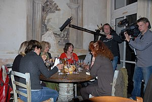Camera crew of Radio Bremen in Munich, Germany...