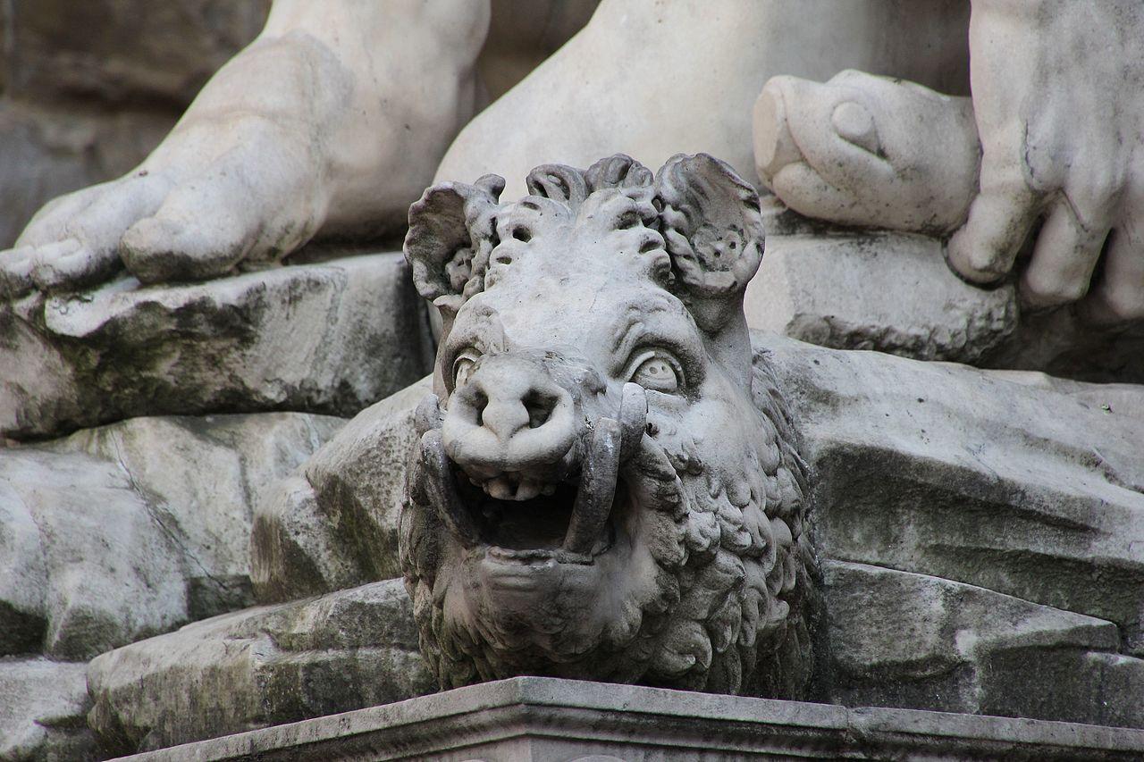 Baccio Bandinelli, Hercules en Cacus (dettagli), Piazza della Signoria, Firenze
