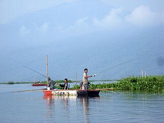 Lake Rawa Pening - Fishing is common on Rawa Pening
