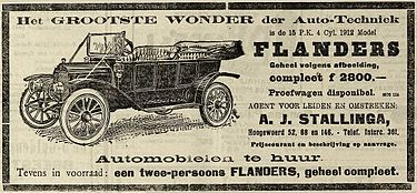 Advertisement from a 1912 newspaper in the Netherlands Flanders automobile advertisement (from Netherlands).jpg