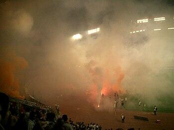 Flares during Hajduk Split - Dinamo Zagreb derby