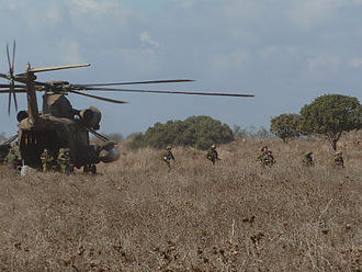 Sikorsky CH-53 Sea Stallion - Israel Defense Forces Iron Trails Reconnaissance Company troops exit a CH-53 during an exercise