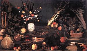 Paintings attributed to Caravaggio - Still Life with Flowers and Fruit. 1590s. Borghese Gallery, Rome