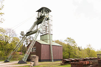 Headframe - Steel headframe of Ottiliae shaft (1876) in Clausthal-Zellerfeld. It is the oldest existing headframe in Germany.