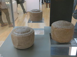 Folkton - Prehistoric Folkton Drums as currently displayed in the British mUseum