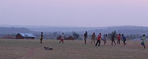 Football in Uganda - Young boys playing a casual game of football (soccer) in Arua District.