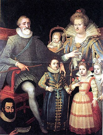 """Guillaume Fouquet de la Varenne - Henry IV and the royal family. Below left, Fouquet de la Varenne. Attributed to Frans Pourbus the Younger Fouquet is holding a paper on which is written: """"He made me to acquire honor and gave me kindness""""."""