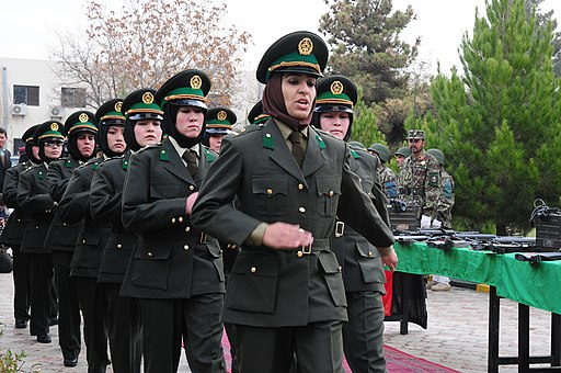 Fourteen Afghan National Army (ANA) women march into their graduation ceremony (6403272495)
