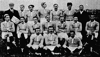 Pierre Guillemin - The French team for the England-France match on 28 January 1911. Guillemin is in the middle of the back row.