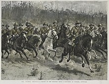 A Company of the Victorian Mounted Rifles on manoeuvres in Victoria in 1889. Frank Dadd - Company of the Victorian Mounted Rifles on manoeuvres in Victoria in 1889.jpg