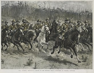Colonial forces of Australia - A company of the Victorian Mounted Rifles on manoeuvres in Victoria in 1889.
