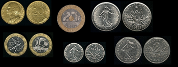 French Franc Coins 1960 99