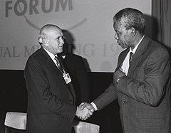 Frederik de Klerk with Nelson Mandela - World Economic Forum Annual Meeting Davos 1992.jpg
